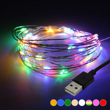 ANBLUB 10M 5M USB Powered LED String lights Silver Wire Garland Fairy Lamp For New Year Holiday Christmas Party Home Decoration(China)