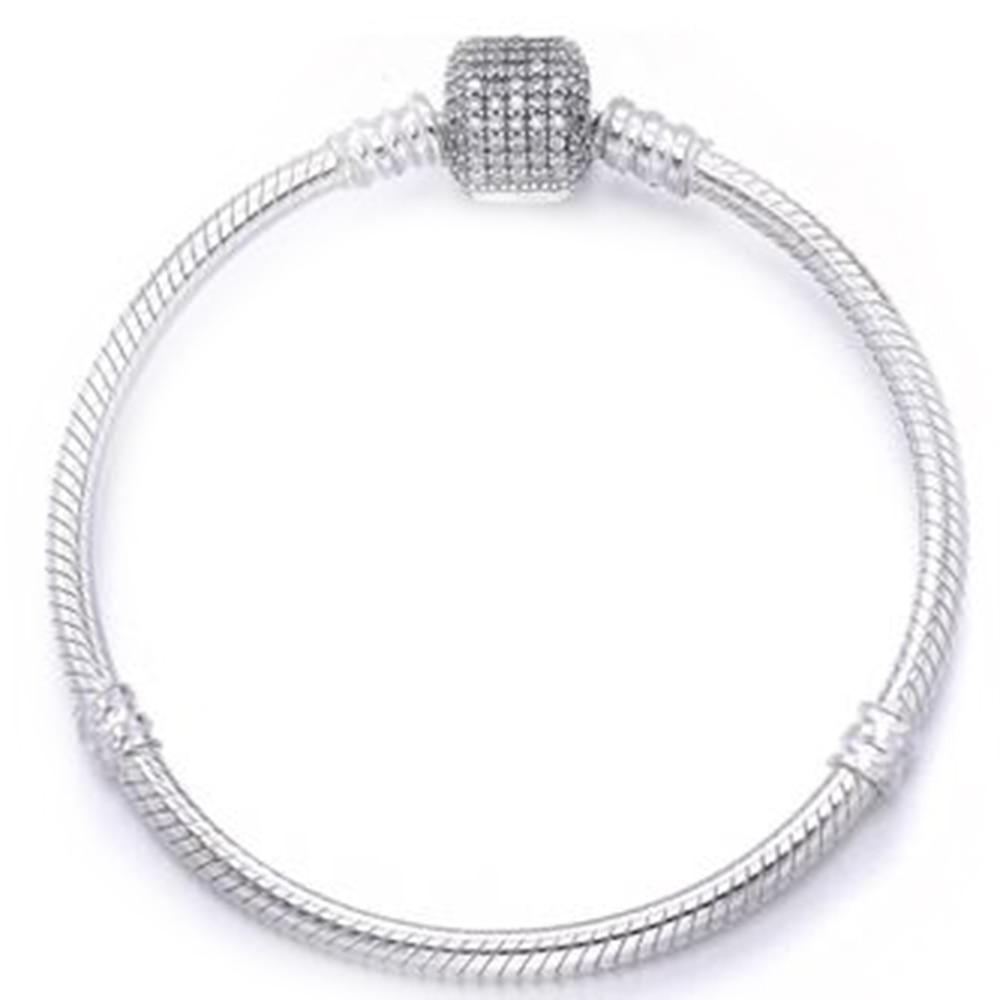Luxury 100% 925 Sterling Silver Brand Bracelet Signature logo Clasp Crystal SnakeChain Bracelet & Bangle Fit Women Charm Jewelry