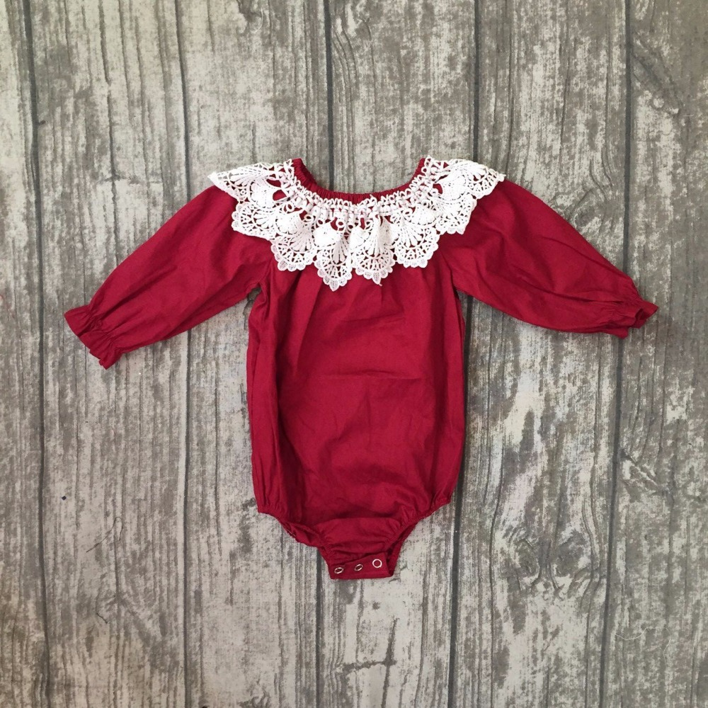 new arrival baby winter and Fall romper clothing infant toddler baby girls romper 3 colors in stock lace trim toddler romper ...