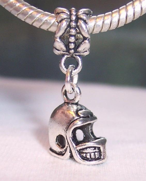 Hot ! 15 pcs Antique Silver Alloy Football Helmet Sports Dangle Bead fits European Bracelets 25.5 x 12 x 7.5 mm, DIY Jewelry