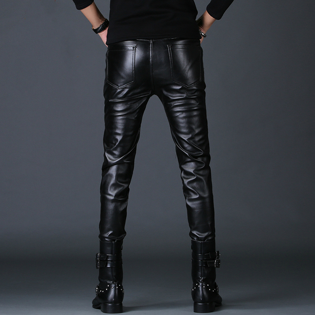 men personality fake zippers design skinny faux leather pants youth rock nightclub motorcycle clothing autumn winter trousers 3