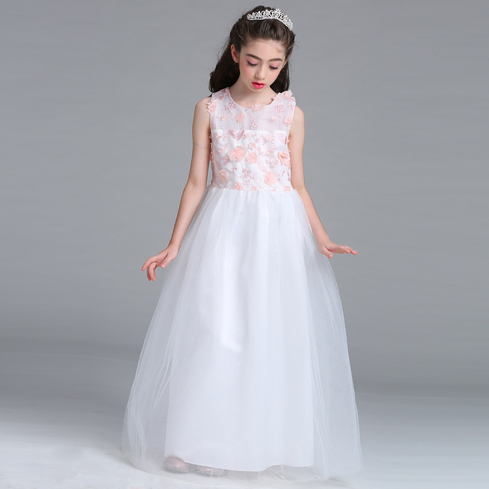 New Girl Evening Dress Big Kids Pink Flower Wedding Dress Princess Dress Elegant High-quality Sleeveless White Girl Long Dress high quality wedding dress doll 45cm 55cm beautiful elegant pink feather dhl or fedex