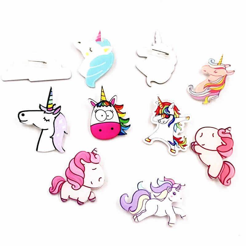 1 Pcs Kartun Hewan Lencana Kuda Lucu Ikon Akrilik Bros Tas Aksesoris Kualitas Tinggi Bros Pesta Hadiah