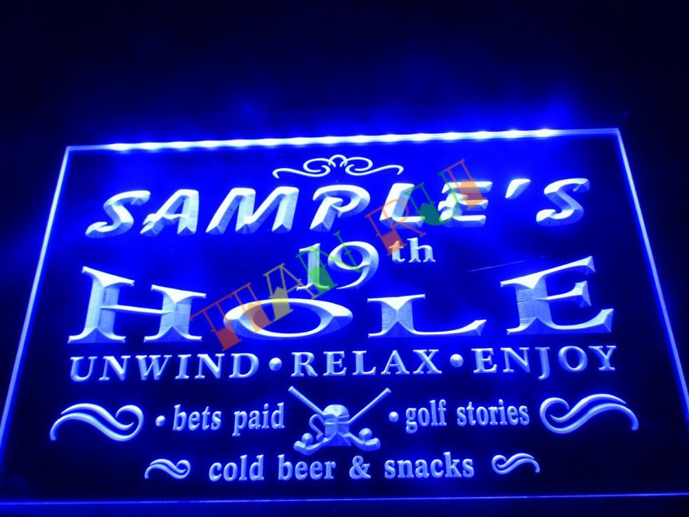 dz010 name personalized custom golf 19th hole bar beer neon sign hang sign home decor shop. Black Bedroom Furniture Sets. Home Design Ideas