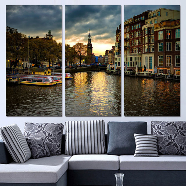 3 Panels Canvas Art Amsterdam House Canal Home Decor Wall Art Painting Canvas Prints Pictures for Living Room Poster
