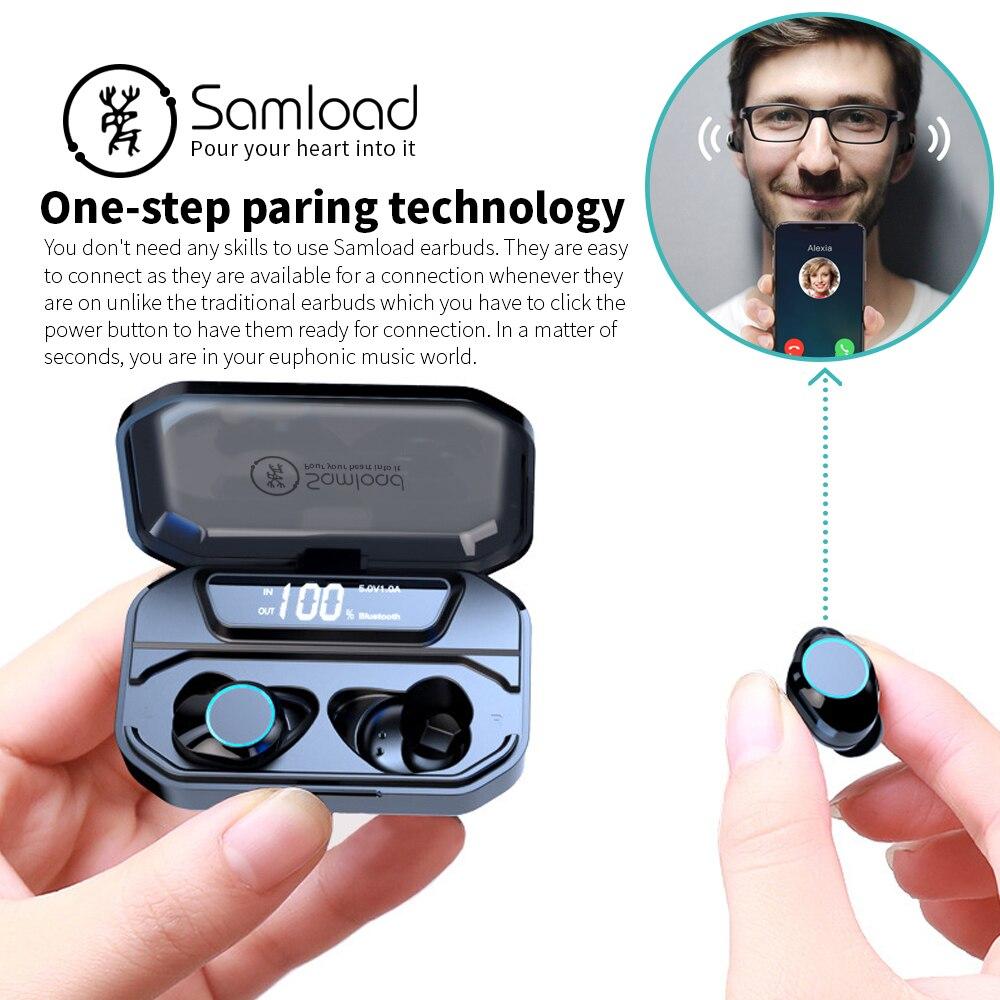 Samload Bluetooth 5.0 Écouteurs Intra-auriculaires HiFi Vrai Sans Fil Casque avec 3300 mAh Boîte De Charge Powerbank Pour iOS Android téléphone - 5