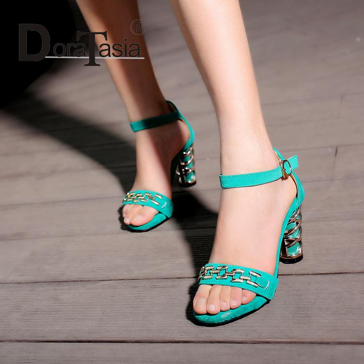 ФОТО 2106 Hot Sale Metal Buckle Ankle Strap Women Sandals Elegant High Heels Platform Lady Party Shoes Green/Black