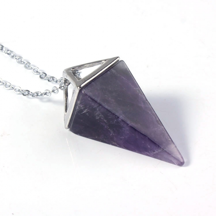 Kraft-beads Silver Plated Square Pyramid Amethysts Rose Pink Quartz Pendant Rock Crystal Necklace Opalite Opal Jewelry