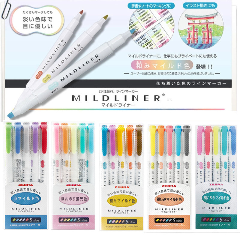 25PCS Set Zebra WKT7 Highlighter Marker Mildliner Japan Import Double SidedRound Toe Oblique School Office Supply