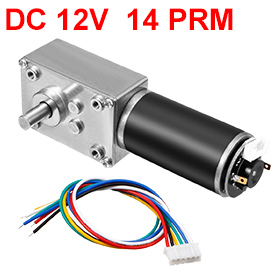 Uxcell(R) 1Pcs DC 12V 14RPM 32Kg.cm Self-Locking Worm Gear Motor With Encoder And Cable, High Torque Speed Reduction Motor все цены