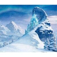 Vinyl Mountains Frozen Palace Photography Backdrop Blue Winter Wonderland background for photo studio 2730
