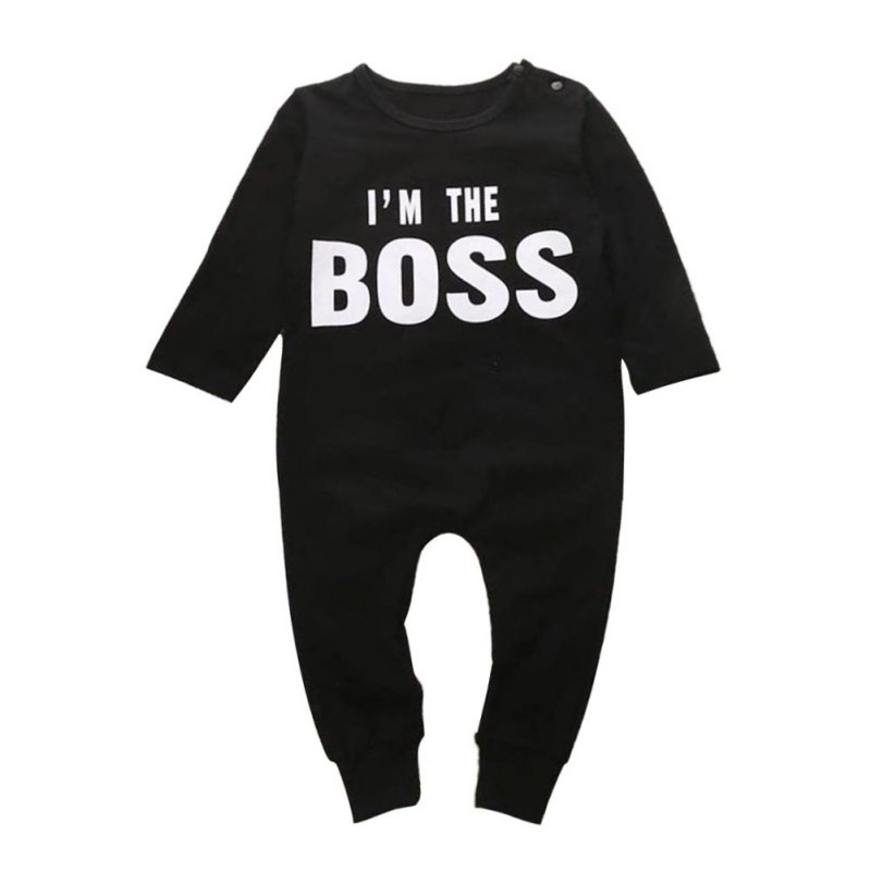 Letter Printed IM THE BOSS Baby Kids Pattern Outfits Sets Boys Girls Long Sleeve Romper  ...