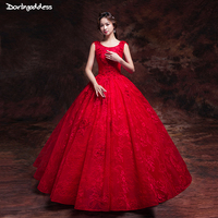 Luxury Princess Wedding Dresses Ball Gown Sleeveless Red Wedding Dress 2019 Floor Length Wedding Gowns Plus Size Vestido Noiva