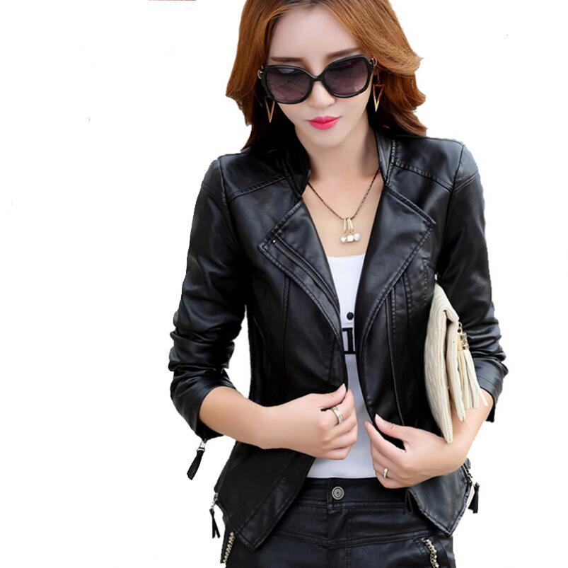 2018 New Fashion Spring Autumn Short Leather Jacket Women High-end Oblique Zipper Women Motorcycle Leather Jacket Slim Coat