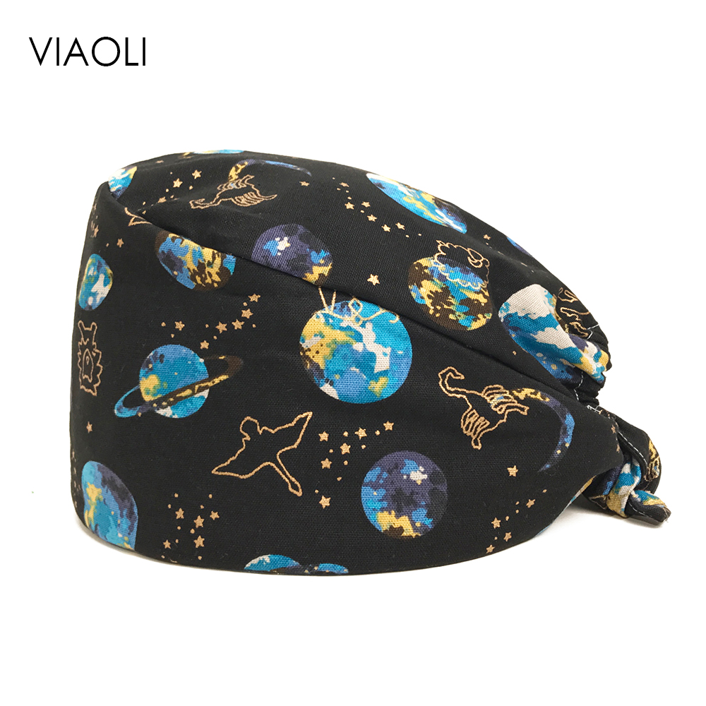 Wholesale Prices Surgical Cap Dental Salon Male And Female Doctor Nurse Cap Cotton Print Operating Room Work Hats/caps Planet