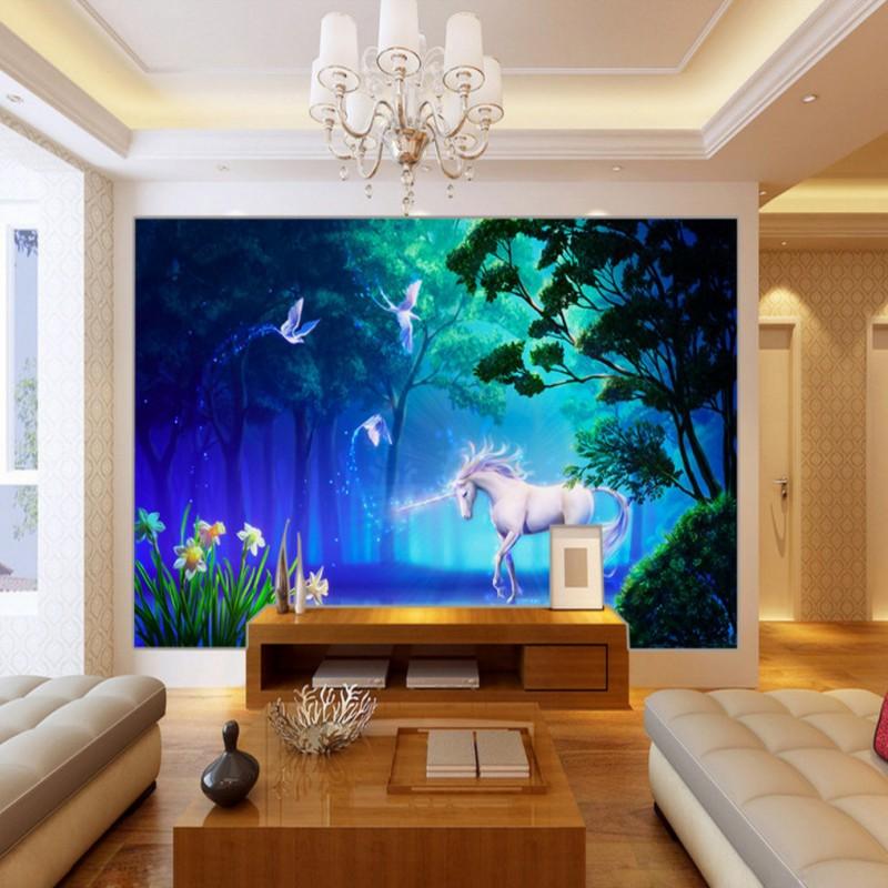 US $11.6 10% OFF|Benutzerdefinierte 3D fototapete 3D stereo tapete Wald  einhorn Hintergrund Wand kinderzimmer tapete kundenspezifische schlafzimmer  ...