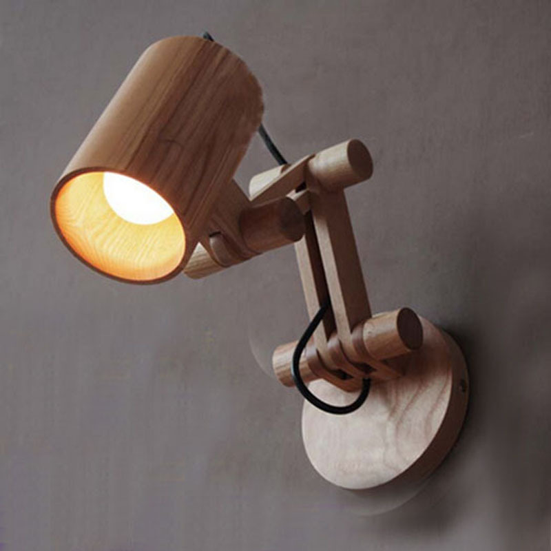 Oak modern wooden wall lamp lights for bedroom