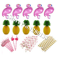 Hot Pink Foil Flamingo Balloon Paper Straws Pineapple Honeycomb Decoration Supplies for Wedding Baby Shower Hawaiian Party