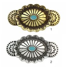 Ethnic Retro Engraved Floral Geometric Spring Hair Clip Women Faux Diamond Jewelry Ponytail Holder Clamp Drop Oil Updo Hairgrips faux turquoise cow engraved jewelry set