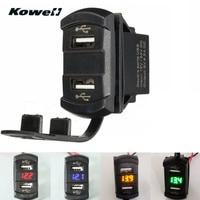 KOWELL 12 V 4.2A Auto Auto Moto Ports 2USB Power ladegerät Adapter Buchse Splitter LED Volt Meterr Spannung Meter Schalter Panel