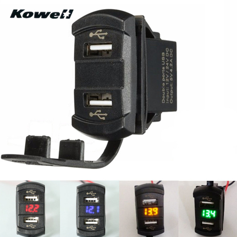KOWELL 12 V 4.2A Voiture Auto Moto Double Ports 2USB Puissance chargeur Adaptateur Socket Splitter LED Volt Meterr Tension Mètre Commutateur panneau