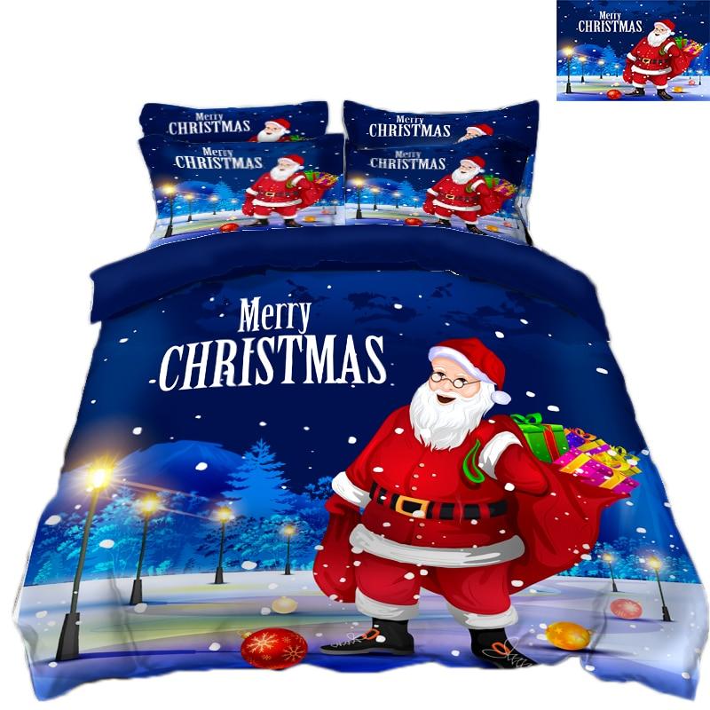 Neue Produkt 3D Bettwäsche Set Mikrofaser Bettwäsche blumen Bett Bettwäsche Bettbezug set Bettlaken Santa Claus geschenk schmücken