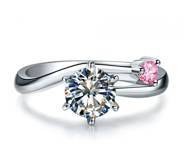 Cute Sterling Silver Wedding Rings 1CT 01CT Unique Design SONA