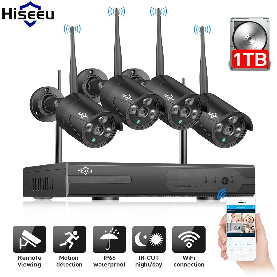 Hiseeu 4CH 960P NVR Wireless Security CCTV System Video Surveillance CCTV Kit WiFi Outdoor IP Camera Motion Detection 1T IP Pro