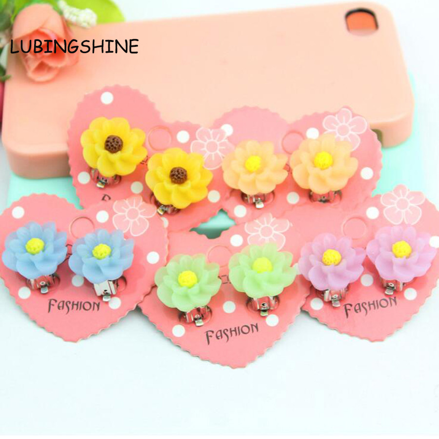 Cute Sweet Flower Candy Earrings Without Hole Resin Gift Ear Clip For  Children Baby Girl Holiday Travel Jewelry Kids Jjal E154