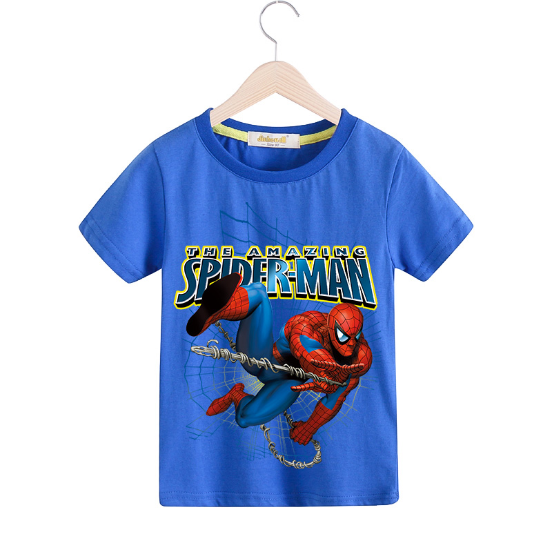 Children New Arrivals Summer 3D Funny T-shirt Boy Short Sleeve Cartoon Spiderman Print Tee Tops Kids Clothes Girls Tshirt TX070