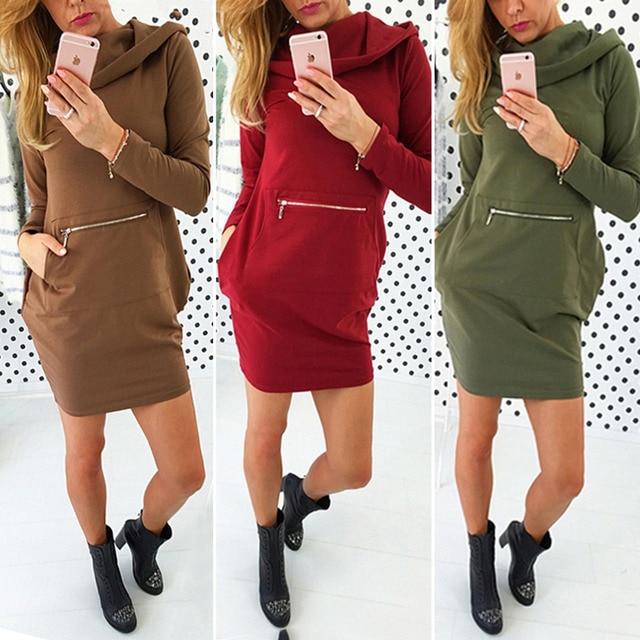 Hooded Dress Women Zip Up Front Pocket Design Hoos Sweatshirt Cowl Neck Slim Shift Shirt