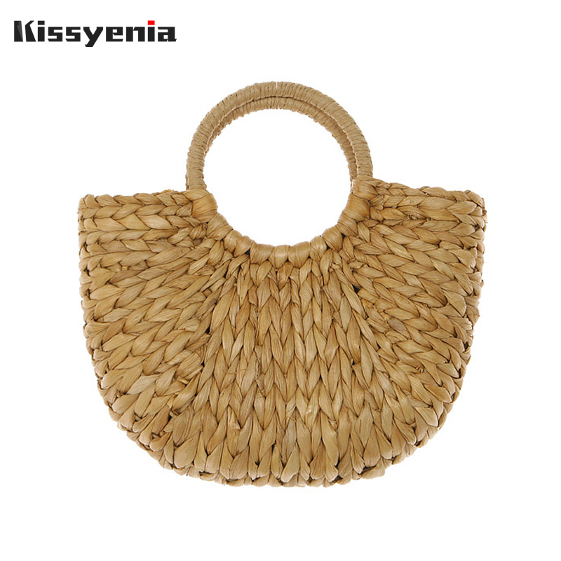 Kissyenia INS Hot Women Rattan Beach Bags Bali Bags Bohemia 100% Handmade Straw Woven Handbags Wicker Knitted Tote Female KS1217 women bohemian straw bags ladies small beach weave handbag tote handmade summer wicker basket ribbons rattan holiday travel ins