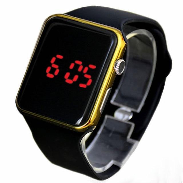 f9a9b9b7eb4 Espelho quadrado Rosto Banda de Silicone Digital Relógios LED Vermelho  Relógio de armação de Metal relógio