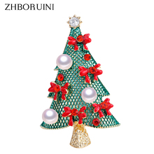 ZHBORUINI 2019 Natural Pearl Brooch Christmas Tree Breastpin Freshwater Jewelry For Women Gift Accessories