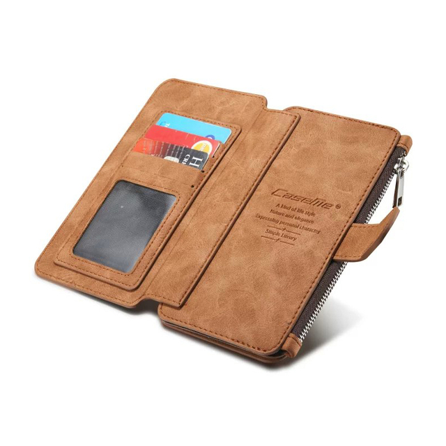 Para a apple iphone 7 6 6 s/plus multi-funcional 14 cartões titular wallet case casos de telefone do vintage genuíno de couro com zíper de volta cobrir