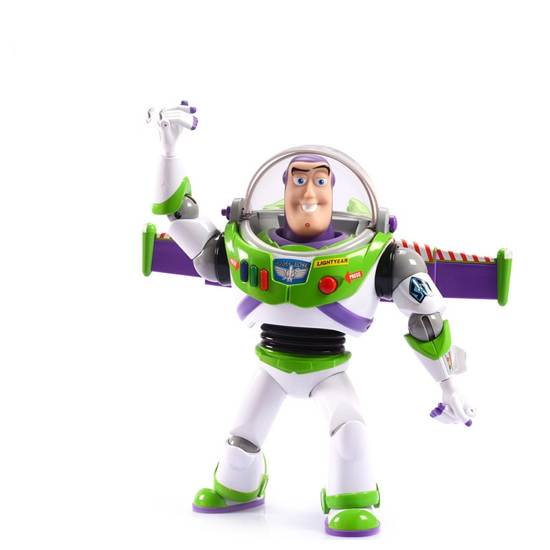 in BOX Toy Story 3 Buzz Lightyear Toys Talking Buzz Lightyear PVC Action Figure Collectible Toy 12 30CM free shipping original toy story 3 buzz lightyear robot light voice elastic wings 30cm action music anime figure kids toys for children p2