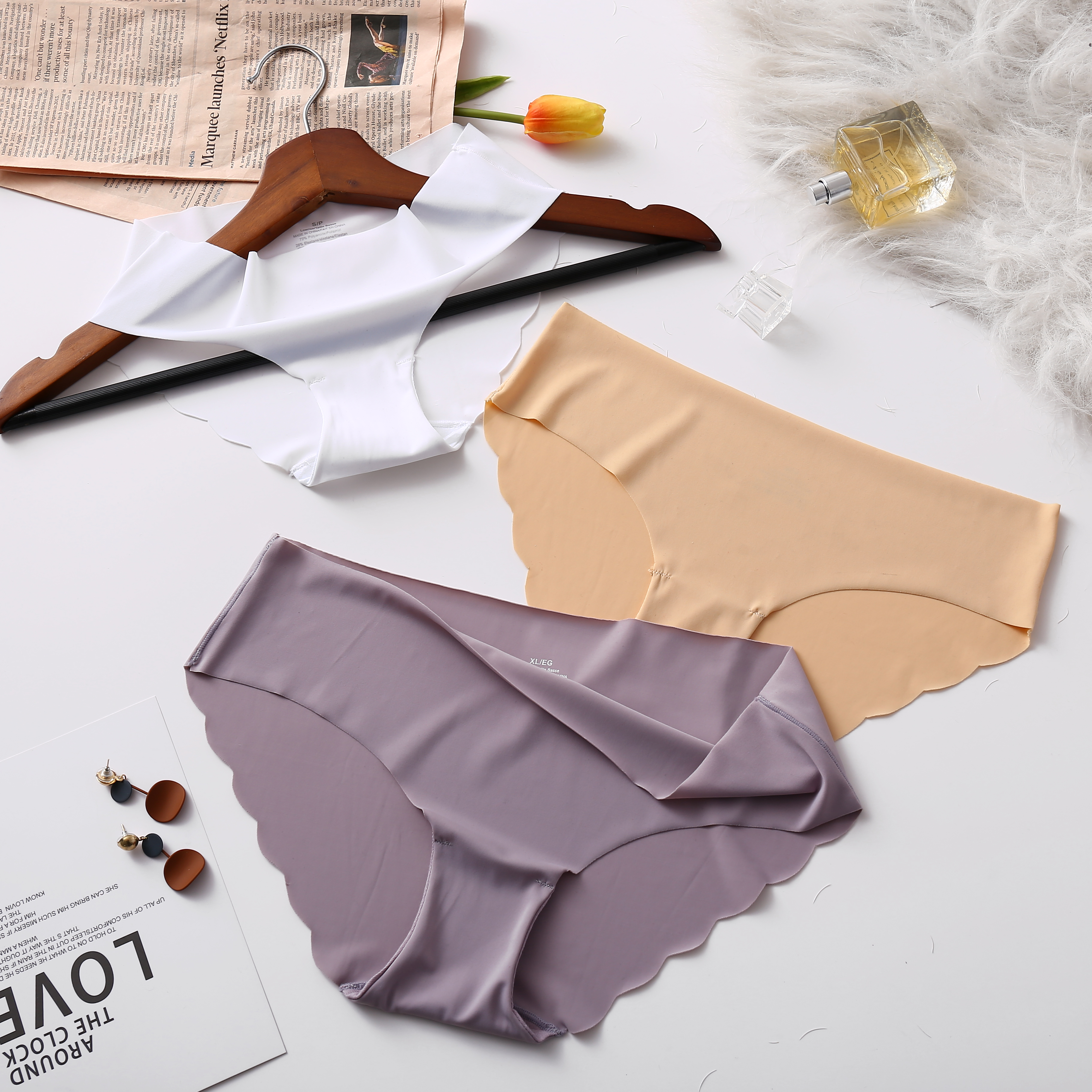 3Pcs/lot Low-Rise Seamless   Panties   Set For Women Fashion Comfort Underwear Intimates Female Briefs Lingerie