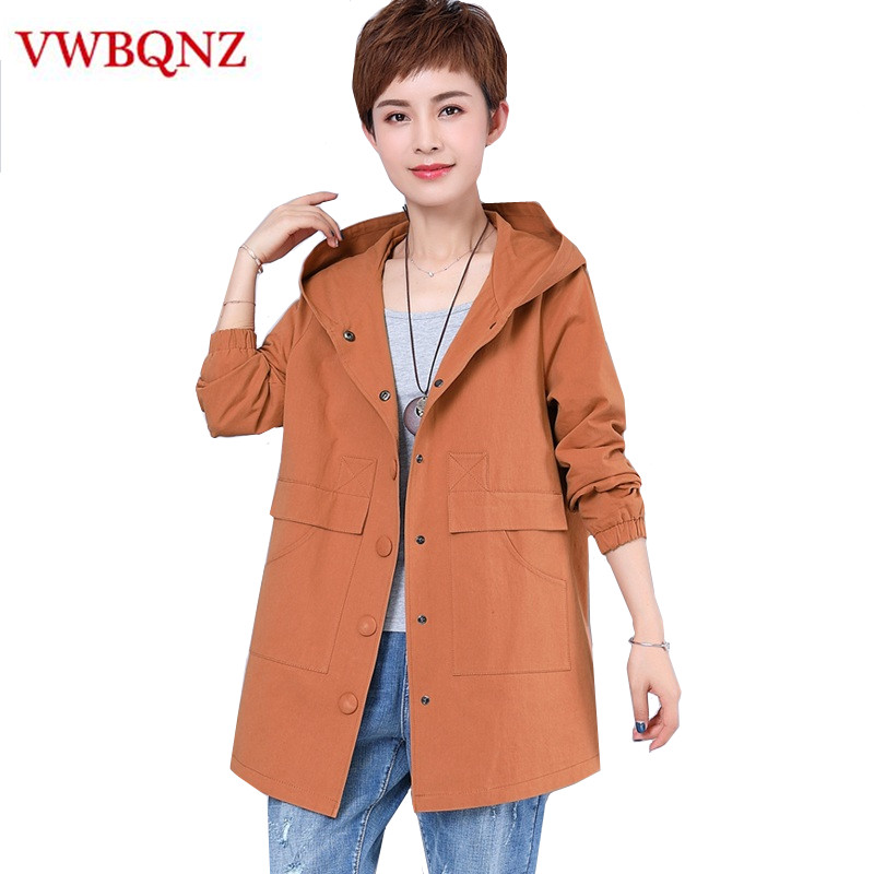 Mid-length Women Hooded Windbreaker Fashion Autumn Slim Ladies Overcoat Plus size Middle-aged Lady Casual Loose Trench Coat 5XL