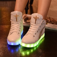 Spring and summer colorful light shoes USB charging LED lights luminous shoes flash fluorescent shoes couple sports shoes