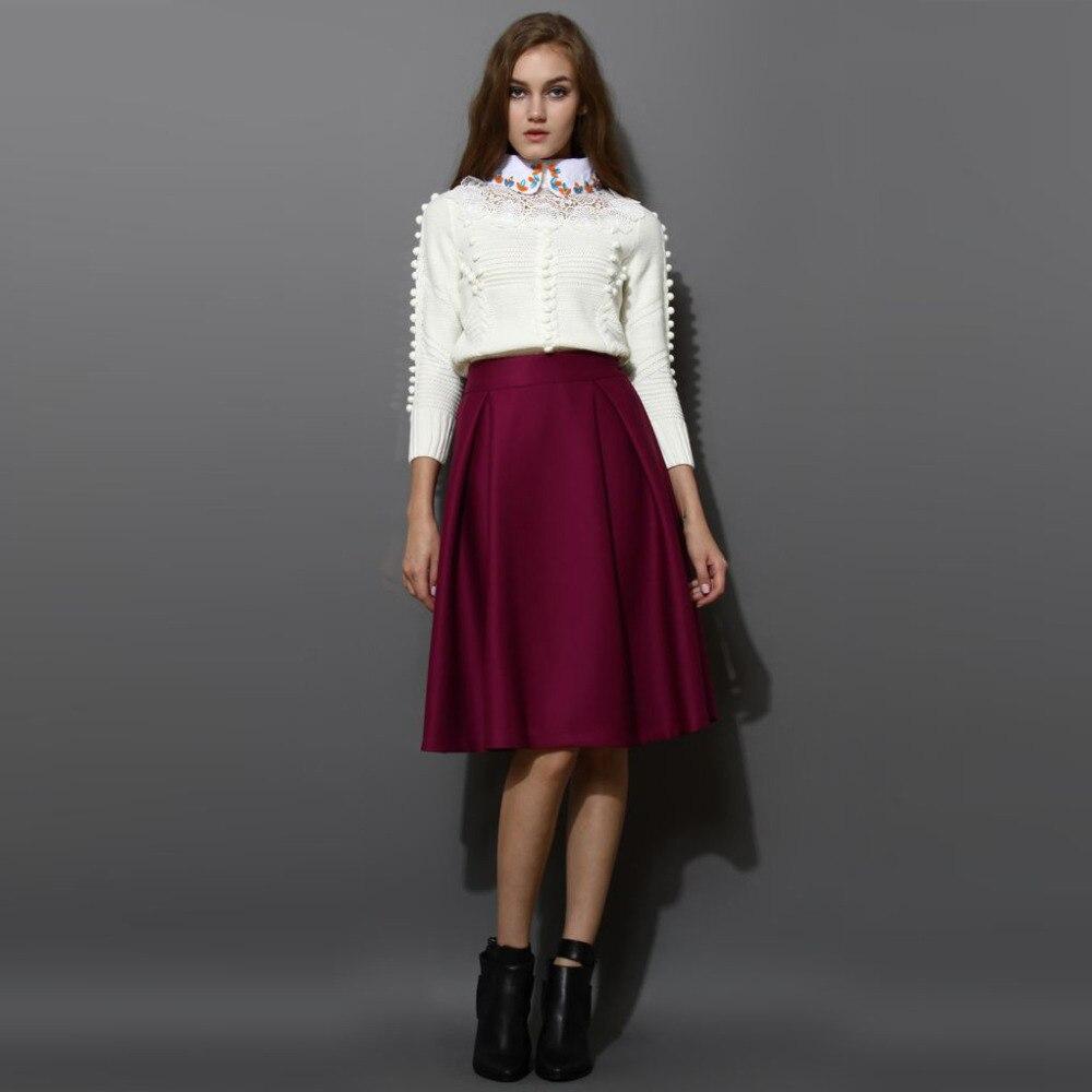 A Line Skirt Knee Length - Skirts