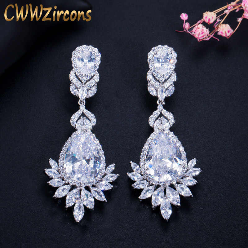 CWWZircons Elegent Evening Dinner Party Wedding Jewelry Luxury Long CZ Crystal Big Drop Dangle Earrings for Brides CZ055