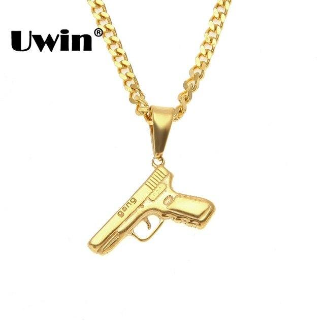 Uwin Châu Âu Mini Súng Mặt Dây Chuyền Vòng Cổ Hip Hop Người Đàn Ông Phụ Nữ Pistol Đồ Trang Sức Vàng Màu Thép Không Gỉ Tay Súng Thời Trang Vàng chuỗi