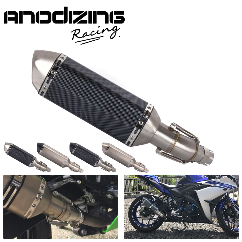 Motorcycle Exhaust Muffler Link Pipe Carbon Fiber Exhaust middle Pipe Escape FOR YAMAHA YZF-R3 R3 R25 2014-2018 Slip-On Slip On