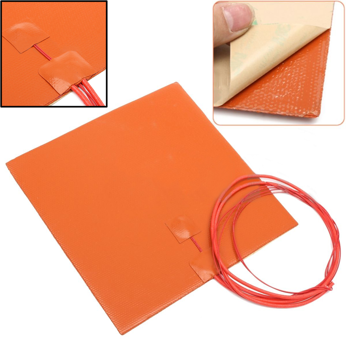 DWZ New 200W 12V 200*200mm Silicone Heater Pad For 3D Printer Heated Bed Heating Mat 150x150mm 150w 12v silicone heater pad for 3d printer heated bed 3m psa ntc100k silicone heating element pad mat flexible heater
