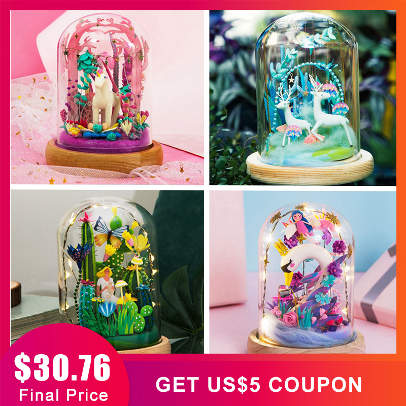 Robotime DIY Clay Miniature Set Fairy Home Decoration Plasticine Figurine Crafts with LED Easter Gift for