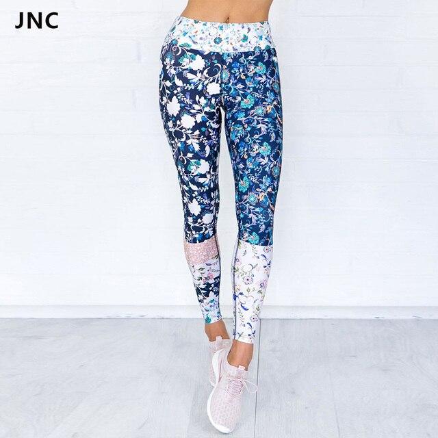 587cf6ed56c4f JNC Blue Floral Printed Yoga Pants Women's Fitness Sport Leggings Elastic  Gym Workout Tights Skinny Gym