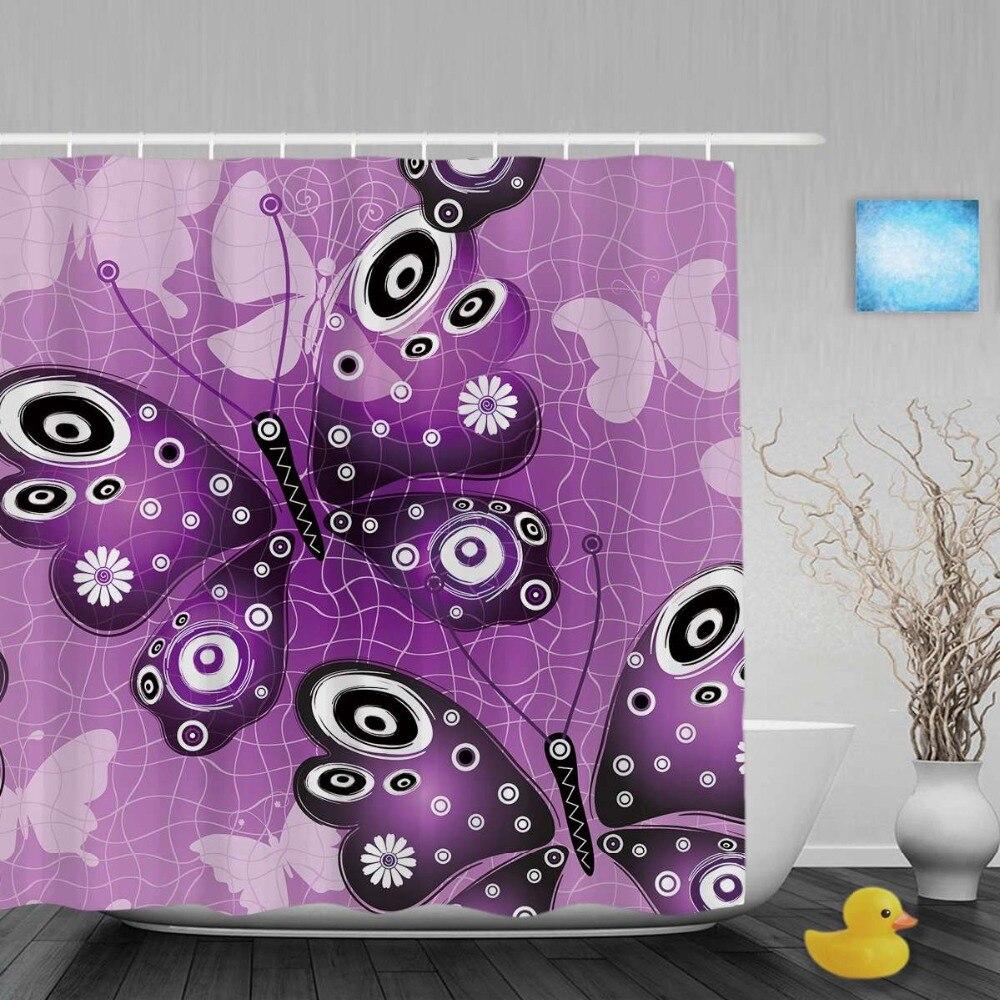 Purple butterfly curtains - Purple Butterfly Shower Curtains Purple Butterfly Designed Bathroom Shower Curtains Morden Grid Pattern Shower Curtain