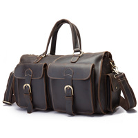 Cow Genuine Leather Men Travel Bags Luxury Crazy Horse Skin Portable Male Shoulder Bags Brand Real Leather Vintage Travel Duffle