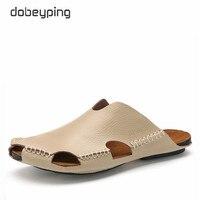 Promo 2017 nueva llegada verano Hombre Zapatos Casual suave cuero Real hombres zapatillas Cool playa sandalias no deslizantes hombre hecho a mano Flip Flops