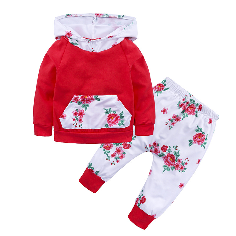 Baby Girls Clothes Sets New Style red Hooded Pullover Tops+ Casual Pants 2PCS Fashion flowers newborn Clothes Sets